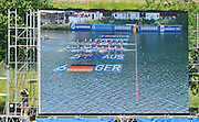 Lucerne, SWITZERLAND. Women's eights final TV. big screen transmission showing the USAW8+ and CAN W8+ boats crossing the line.   2012 FISA World Cup II, Lucerne Regatta.  Rotsee  Rowing Course,  Sunday  27/05/2012    [Mandatory Credit Peter Spurrier/ Intersport Images]..Bow, Ester LOFGREN, Zsuzsanna FRANCIA, Jameie REDMAN, Amanda POLK, Meghan MUSNICKI, Taylor RITZEL, Caroline LIND, Caryn DAVIES and cox Mary WHIPPLE.