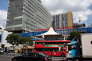 Public transport TFL buses at Elephant and Castle in London, UK. The area is now subject to a master-planned redevelopment budgeted at £1.5 billion. A Development Framework was approved by Southwark Council in 2004. It covers 170 acres and envisages restoring the Elephant to the role of major urban hub for inner South London.