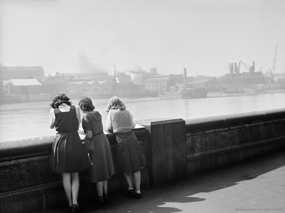 Three Girls Watching the Thames above Millwall, London, c.1939