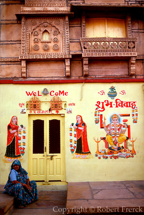 INDIA, RAJASTHAN Wall decorations including Ganesh on the wall of a home in Jaisalmer, in the  Great Thar Desert