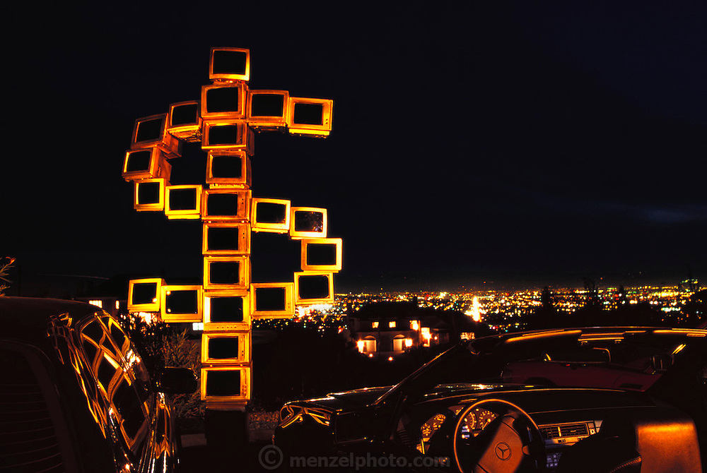 """View from mount Hamilton road """"$"""" sculpture made from recycled computers. (1999)."""