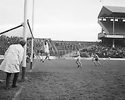 Donegal player clashes with Offaly goalie mid air near the goal during the All Ireland Senior Gaelic Football Final, Donegal v Offaly in Croke Park on 24 September 1972.
