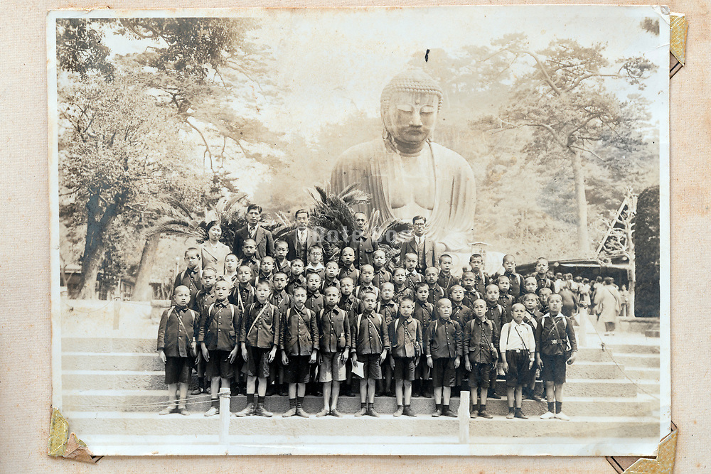 boys only large school group in front of the big Buddha in Kamakura Japan ca 1930s
