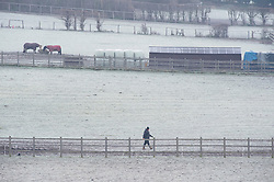 © Licensed to London News Pictures 31/12/2020.        Swanley, UK. A wintery scene in Swanley, Kent as a farmer makes an early start to the day. A cold and frosty start this morning on the last day of 2020. Photo credit:Grant Falvey/LNP