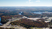 Aerial view of the Dells of the Wisconsin River and the city of Wisconsin Dells.