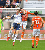 Preston North End's Emil Riis Jakobsen battles with Blackpool's Richard Keogh<br /> <br /> Photographer Dave Howarth/CameraSport<br /> <br /> The EFL Sky Bet Championship - Blackpool v Preston North End - Saturday 23rd October 2021 - Bloomfield Road - Blackpool<br /> <br /> World Copyright © 2020 CameraSport. All rights reserved. 43 Linden Ave. Countesthorpe. Leicester. England. LE8 5PG - Tel: +44 (0) 116 277 4147 - admin@camerasport.com - www.camerasport.com