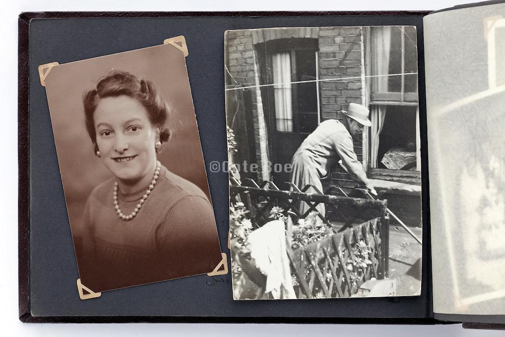 a 1930s portrait with a 1950s picture on a vintage photo album page