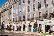 Lisbon, December 2012. Typical portuguese glazed tiled buildings in a street at Terreiro do Paço
