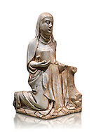 Gothic marble statue of Mary Magdelane (Magdelena) by Mestre de Pedralbes of Barcelona, 2nd half of 14th Century, from the cemetery of the cathedral of Barcelona.  National Museum of Catalan Art, Barcelona, Spain, inv no: MNAC  9797. Against a white background. .<br /> <br /> If you prefer you can also buy from our ALAMY PHOTO LIBRARY  Collection visit : https://www.alamy.com/portfolio/paul-williams-funkystock/gothic-art-antiquities.html  Type -     MANAC    - into the LOWER SEARCH WITHIN GALLERY box. Refine search by adding background colour, place, museum etc<br /> <br /> Visit our MEDIEVAL GOTHIC ART PHOTO COLLECTIONS for more   photos  to download or buy as prints https://funkystock.photoshelter.com/gallery-collection/Medieval-Gothic-Art-Antiquities-Historic-Sites-Pictures-Images-of/C0000gZ8POl_DCqE
