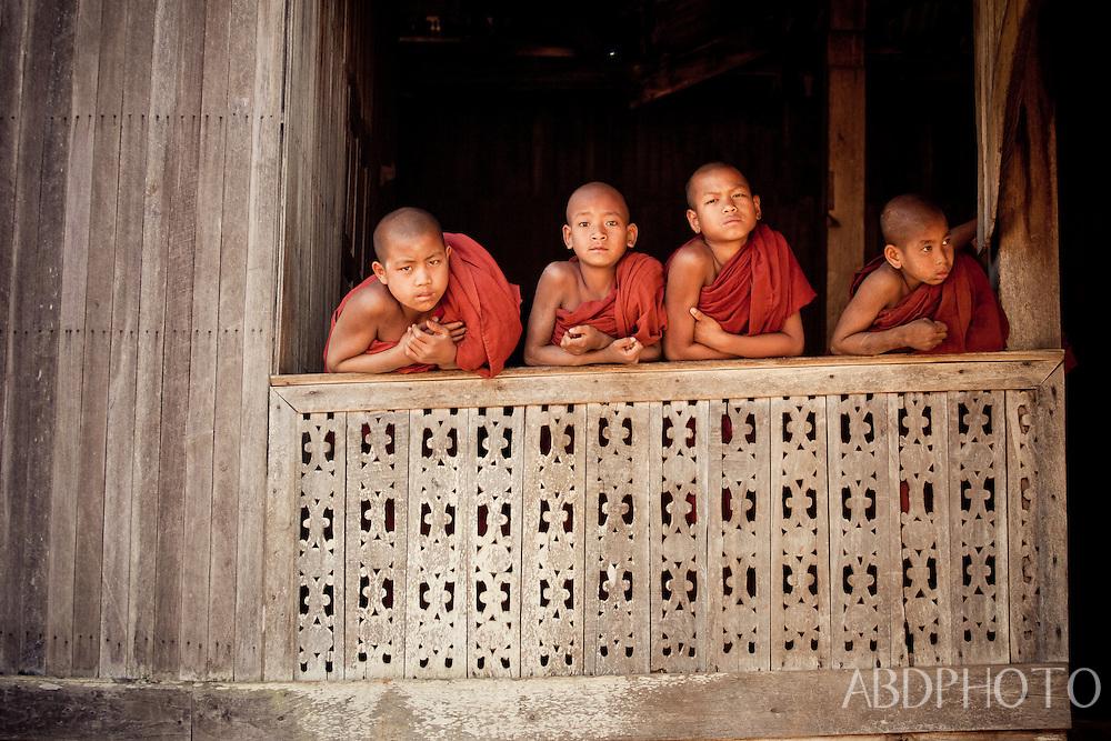 monks at wai gyi monastery kalaw myanmar burma