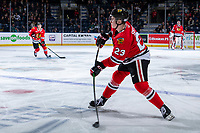 KELOWNA, BC - FEBRUARY 8: Kurtis Smythe #23 of the Portland Winterhawks passes the puck against the Kelowna Rockets at Prospera Place on February 8, 2020 in Kelowna, Canada. (Photo by Marissa Baecker/Shoot the Breeze)