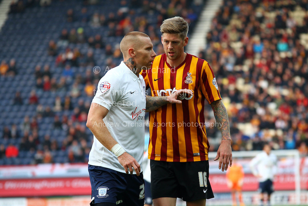 Preston North End's Jack King and Bradford City's Jonathan Stead have words. Skybet football league one match, Preston North End v Bradford city at Deepdale in Preston, Lancs on Saturday 15th November 2014.<br /> pic by Chris Stading, Andrew Orchard sports photography.