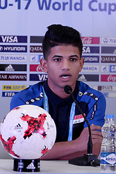 October 7, 2017 - Kolkata, West Bengal, India - Iraqi football team coach Qahtan Jathir and captain Saif Khalid during a press conference ahead of FIFA U 17 World Cup on October 7, 2017 in Kolkata. (Credit Image: © Saikat Paul/Pacific Press via ZUMA Wire)