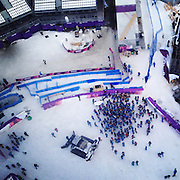 An aerial view from a gondola as workers gather at Rosa Khutor Extreme Park following their last competition Saturday, Feb. 22, 2014. Sochigrams during the Winter Olympics in Sochi, Russia with an iPhone and Instagram. (Brian Cassella/Chicago Tribune) B583527420Z.1 <br /> ....OUTSIDE TRIBUNE CO.- NO MAGS,  NO SALES, NO INTERNET, NO TV, CHICAGO OUT, NO DIGITAL MANIPULATION...