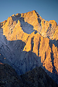 Autumn Sunrise on Lone Pine Peak from the Alabama Hills in the Owens Valley, Eastern Sierra Nevada Mountains of California