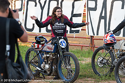 Brittney Olsen in her Spirit of Sturgis antique motorcycle flat track race at the historic Sturgis Half Mile during the 78th annual Sturgis Motorcycle Rally. Sturgis, SD. USA. Monday August 6, 2018. Photography ©2018 Michael Lichter.