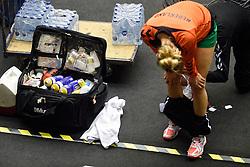 19-12-2015 DEN: World Championships Handball 2015 Training Oranje, Herning<br /> Na een rustige training werd er een persmoment gehouden / Fysio, Pillen, pleister, tape koffer