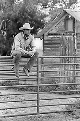 handsome cowboy outdoors sitting on a fence on a ranch