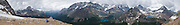 See Lake O'Hara, Lake McArthur, and a wide panorama of peaks from Odaray Highline Trail, in Yoho National Park, British Columbia, Canada. Yoho is part of the Canadian Rocky Mountain Parks World Heritage Site declared by UNESCO in 1984. Panorama stitched from 12 images.