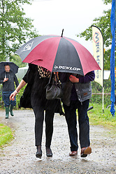 © Licensed to London News Pictures. 23/05/2014. Hay-on-Wye, UK. Wet start to the second day of the Hay Festival of Literature and Arts which celebrates its 27th year in Wales. Photo credit : Graham M. Lawrence/LNP