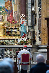 April 17,2021 : a of the Holy Rosary recited by Cardinal Angelo Comastri in St. Peter's Basilica, at the altar of St. Joseph in the Vatican