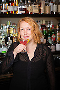 "New York, NY - December 18, 2018: Laurel Adams mixes ""The Bouquet',""her Collective Cocktail Challenge-winning drink at Barboncino in Crown Heights.<br /> <br /> Photos by Clay Williams.<br /> <br /> © Clay Williams - http://claywilliamsphoto.com"