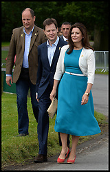 Image ©Licensed to i-Images Picture Agency. 05/07/2014. Yorkshire, United Kingdom. The Deputy Prime Minister Nick Clegg and his wife Miriam join the The Royals attend the Tour De France -The Duke and Duchess of Cambridge and Prince Harry attend the Tour De France Grand Depart. Their Royal Highnesses  meet cyclists as they line up at Harewood House for the Ceremonial Start, and officially start the race. Picture by Andrew Parsons / i-Images