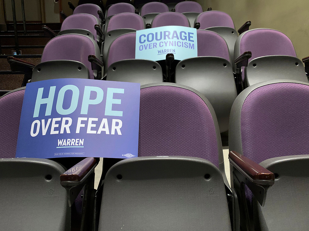 Seats waiting to be filled by Warren supporters.
