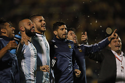 QUITO, Oct. 11, 2017  Argentina's players celebrate after winning the FIFA World Cup 2018 qualifier match against Ecuador, at Atahualpa Olympic Stadium, in Quito, Ecuador, on Oct. 10, 2017.  ma) (ce) (Credit Image: © Franklin Jacome/Xinhua via ZUMA Wire)