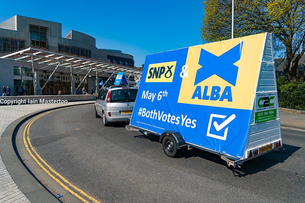 Edinburgh, Scotland, UK. 24 April 2021. Alba party ad van driven past Scottish Parliament at Holyrood today.  Iain Masterton/Alamy Live News