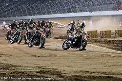 Hooligan heats at the AMA sanctioned flat track racing on the infield of Daytona Speedway during Daytona Beach Bike Week, FL. USA. Thursday, March 14, 2019. Photography ©2019 Michael Lichter.
