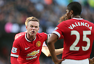 Wayne Rooney of Manchester United shouts at Luis Antonio Valencia of Manchester United - Barclays Premier League - Manchester City vs Manchester Utd - Etihad Stadium - Manchester - England - 2nd November 2014  - Picture David Klein/Sportimage