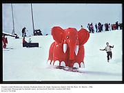 Tommy Leigh-Pemberton chasing Elephant down ski slope. Dangerous Sports club Ski Race. St. Moritz.  1986<br />© Copyright Photograph by Dafydd Jones<br />66 Stockwell Park Rd. London SW9 0DA<br />Tel 0171 733 0108