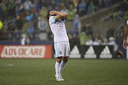 October 8, 2018 - Seattle, Washington, U.S - Seattle forward NICO LODEIRO (10) shows his disappointment from his missed shot on goal as the Houston Dynamo visits the Seattle Sounders in a MLS match at Century Link Field in Seattle, WA. Seattle won the match 4-1. (Credit Image: © Jeff Halstead/ZUMA Wire)