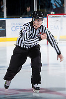 KELOWNA, CANADA - JANUARY 24: Ward Pateman, linesman of the Western Hockey League enters the ice as the Seattle Thunderbirds visit the Kelowna Rockets on January 24, 2013 at Prospera Place in Kelowna, British Columbia, Canada (Photo by Marissa Baecker/Shoot the Breeze) *** Local Caption ***