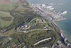 Image ©Licensed to i-Images Picture Agency. Aerial views. United Kingdom.<br /> Dover Castle with Dover docks in the background. Picture by i-Images