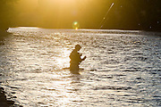 Jeremy Cram, holding his fly fishing rods, wades the Yakima River near Cle Elum in Eastern Washington.