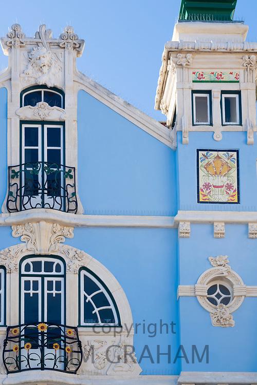 The ornate Museu Arte Nova - Modern Art Museum and Casa de Cha with ceramic tiles and traditional balconies - in Aveiro, Portugal