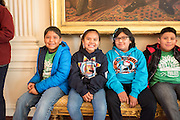Students from Kemper Elementary, in Cortez, Colorado wait to visit the White House Kitchen Garden.