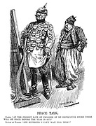 """Peace Talk. Kaiser. """"At the present rate of progress of my destructive sword there will be peace before the year is out."""" Sultan of Turkey. """"And supposing I can't wait till then?"""" (Wilhelm II poses infront of a full length mirror with his victory medals while a tattered Mehmed V looks on during WW1)"""