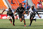 Vilimoni Koroi makes a break during Day 3 of the HSBC World Rugby Sevens, Mens Semi Final match between New Zealand and Fiji, 2019, Spotless Stadium, Saturday 3rd February 2019. Copyright Photo: David Neilson / www.photosport.nz