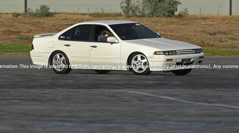 Ben Neale.Nissan Cefiro.SAU Deca Motorkhana sponsored by Micolour.Shepparton, Victoria .23rd of May 2009.(C) Joel Strickland Photographics.Use information: This image is intended for Editorial use only (e.g. news or commentary, print or electronic). Any commercial or promotional use requires additional clearance.