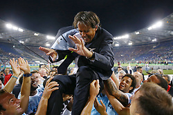 August 13, 2017 - Rome, Italy - Simone Inzaghi manager of Lazio celebrating with the team after winning the Italian SuperCup TIM football match Juventus vs Lazio on August 13, 2017 at the Olympic stadium in Rome. (Credit Image: © Matteo Ciambelli/NurPhoto via ZUMA Press)