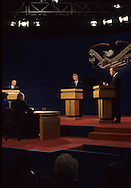 Bush and Clinton and Perot  at the presidential debate in St Louis on October 11, 1992..Photograph by Dennis Brack bb24