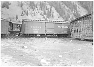 Box car #3273 with cab of #454 behind it.<br /> D&RGW  Silverton, CO  ca 1946