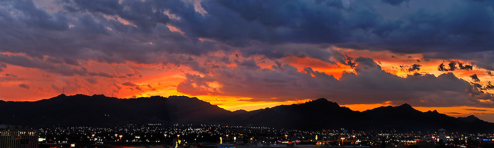 Sunset over Trans Mountains - El Paso, Texas.Shot from the roof of Embassy Suites