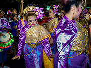 19 OCTOBER 2018 - BANGKOK, THAILAND: A woman dances during Navratri observances in Bangkok. Navratri is a nine night (10 day) long Hindu celebration that marks the end of the monsoon and honors of the divine feminine Devi (Durga). The festival is celebrated differently in different parts of India, but the common theme is the battle and victory of Good over Evil based on a regionally famous epic or legend such as the Ramayana or the Devi Mahatmya. Navratri is celebrated throughout Southeast Asia in communities that have a large Hindu population. Because Navratri honors the feminine Devi, Navratri is especially popular with Thai women and transgendered people.  PHOTO BY JACK KURTZ