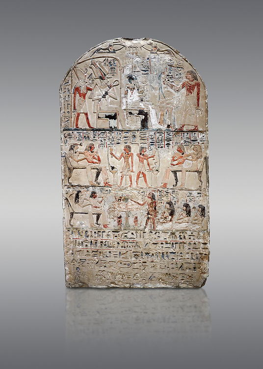 """Ancient Egyptian stele of s standard bearer Maienhekau, limestone, New Kingdom, 18th Dynasty, (1458-1425 BC), DAbydos,  Egyptian Museum, Turin. Grey background.<br /> <br /> In the top registerMaienhekau makes offerings to Ptah, Osiris and Horus. In the middle he is shown with his wife reveiving offerings from his 2 sons. In the lower register another son with 3 gaughters is offering a formula to Maienhekau, also listing his titles. He was standard bearer (captain) on several warships and the """"bearer of arms """" of Thutmosis II. The current depictions are over an earlier relief which can be seen in places where the later stucco has come away. .<br /> <br /> If you prefer to buy from our ALAMY PHOTO LIBRARY  Collection visit : https://www.alamy.com/portfolio/paul-williams-funkystock/ancient-egyptian-art-artefacts.html  . Type -   Turin   - into the LOWER SEARCH WITHIN GALLERY box. Refine search by adding background colour, subject etc<br /> <br /> Visit our ANCIENT WORLD PHOTO COLLECTIONS for more photos to download or buy as wall art prints https://funkystock.photoshelter.com/gallery-collection/Ancient-World-Art-Antiquities-Historic-Sites-Pictures-Images-of/C00006u26yqSkDOM"""