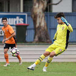 BRISBANE, AUSTRALIA - DECEMBER 10: Andre Janesse of the Roar kicks the ball during the round 5 Foxtel National Youth League match between the Brisbane Roar and Adelaide United at AJ Kelly Field on December 10, 2016 in Brisbane, Australia. (Photo by Patrick Kearney/Brisbane Roar)