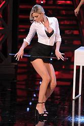 Ria Antoniou dances during the TV program Colorado Cafe Live in Milan, Italy.